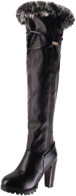 Smilice Women Dress High Block Heel Over The Knee High Boots with Warm Fur Black