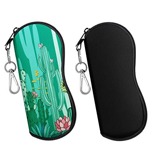 MoKo Brillenetui - [Ultra Lightweight] 2 Stück Neopren Reißverschluss Sonnenbrille Tasche mit Gürtelclip für Brillen, Rahmen, Tragbare Case für Schlüssel, Bleistifte, Karten - Schwarz + Kaktus