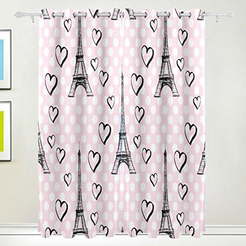 TIZORAX Paris Tour Eiffel avec cœurs Salle de Rideaux occultant occultant Thermique Window Panel Drapes pour décoration de la Maison 213,4 x 139,7 cm, Lot de 2 Panneaux