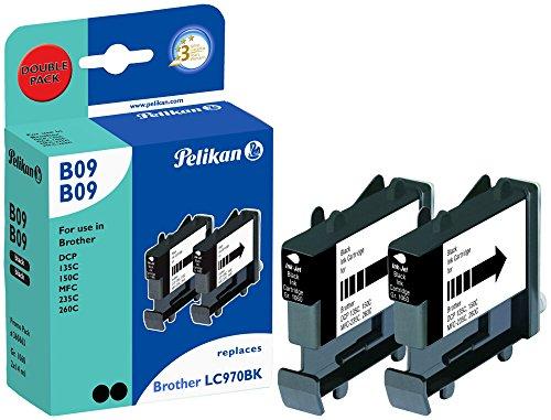 Pelikan Druckpatronen DoppelPack B09B09 ersetzt Brother LC970BK, 2x Schwarz