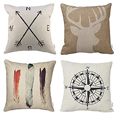 HIPPIH 4 Packs Cotton Linen Sofa Home Decor Design Throw Pillow Case Cushion Covers 18 X 18 Inch,1x Deer Antlers + 1x Feathers + 1x Compass + 1x Navigation Compass