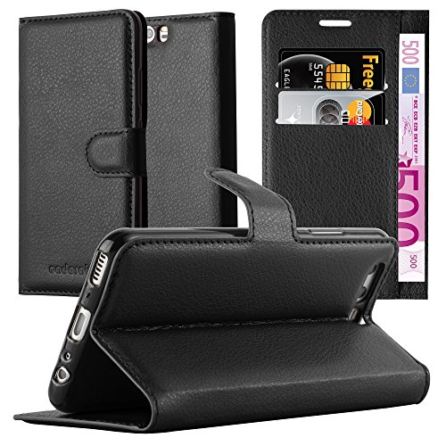 Cadorabo Funda Libro para Huawei P10 en Negro Fantasma - Cubierta Proteccíon con Cierre Magnético, Tarjetero y Función de Suporte - Etui Case Cover Carcasa