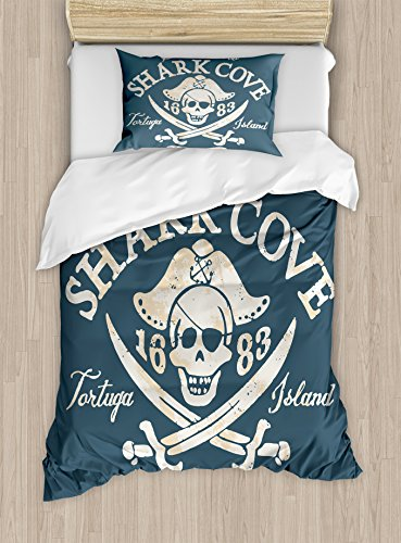 Pirate Twin Size Duvet Cover Set by Ambesonne, Shark Cove Tortuga Island Caribbean Waters Retro Jolly Roger, Decorative 2 Piece Bedding Set with 1 Pillow Sham, Slate Blue White Light Mustard