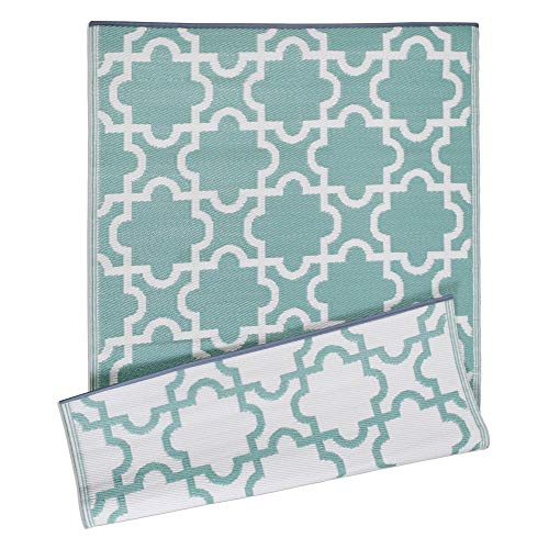 DII Moroccan Indoor Outdoor Lightweight, Reversible, & Fade Resistant Area Rug, Use For Patio, Deck, Garage, Picnic, Beach, Camping, BBQ, Or Everyday Use - 4 x 6 , Green Lattice