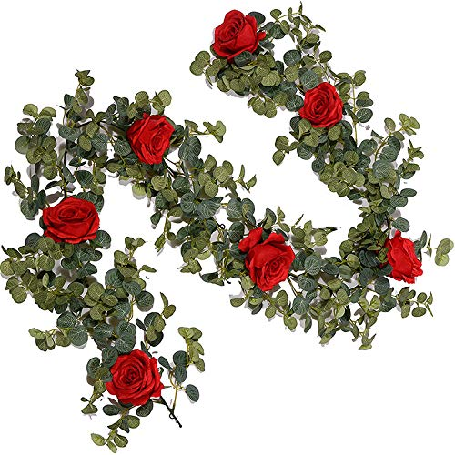 Tuneway Eucalyptus Garland with Roses - 5.9 Ft Artificial Vines and Faux Silk Flowers for Farmhouse Classroom Decoration