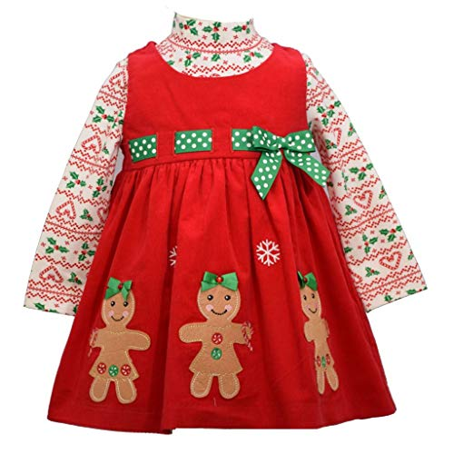 Bonnie Jean Holiday Christmas Dress - Red Corduroy Gingerbread for Baby, Toddler and Little Girls, 5