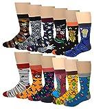 12 Pairs / 6 Pairs Men Colorful Fashion Design Dress socks 10-13 (12 Pairs Assorted Halloween)