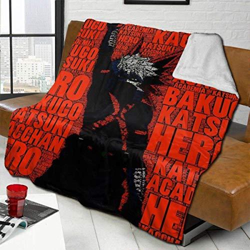 Xuanlin Anime My Hero Academia Katsuki Bakugo Mischdecke, leichte waschbare King Size Luxus Lammwolle Bettdecke Tagesdecken passen Couch Bett Zimmer Stuhl, 60x50in