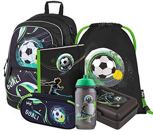 Schulrucksack Set 6 Teilig für Jungen, Schultasche ab 3. Klasse, Grundschule Ranzen mit Brustgurt, Ergonomischer Schulranzen (Fußball)