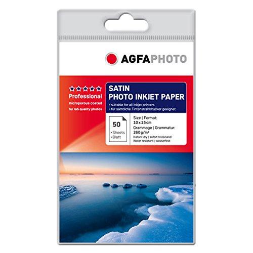 AgfaPhoto AP26050A6S Photopapier, A6, 10 x 15 cm beschichtet mikroporös, 260 g/m², 50 Seiten Inkjetpapier, Photocards, Qualitätslevel: gold