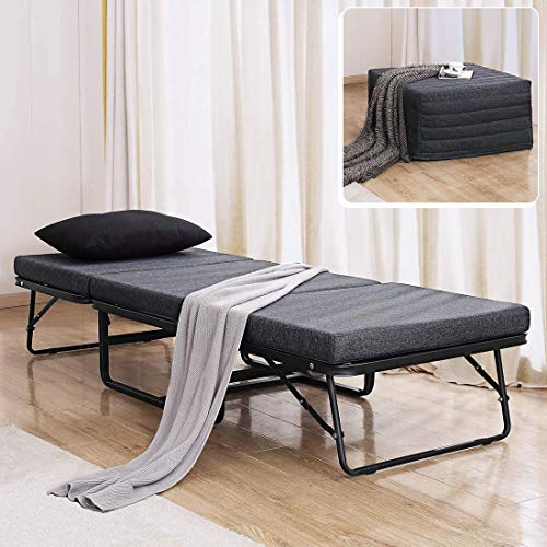 "TATAGO Premium Ottoman Folding Bed with Steel Mesh Wire Lattice Base 500lbs Max Weight Capacity, Extra-Thick Cotton Cover, Guest Hideaway, Dual Use 78"" x 30"""