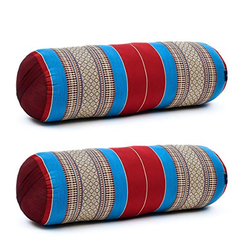 Leewadee Set de 2 Yoga bolsters Grandes – Almohadas tailandesas de kapok Natural, Cojines alargados para Pilates, 65 x 25 x 25 cm, Set de 2, Azul Rojo