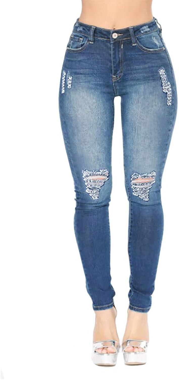 VICVIK Women's Distressed Ripped Butt Lift Skinny Jeans Stretchy Cut Up Casual Hem Denim Pants