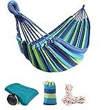Hamaca de Algodón con una Almohada Azul, 220 x 80 cm, Máxima Capacidad de Carga 200 kg, Hamaca con Bolsa de Transporte, para Mochilero Camping Patio Trasero Jardín Rayas Azul-Verdes