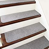 COSY HOMEER Stair Treads Non-Slip Carpet Mat 28inX9in Indoor Stair Runners for Wooden Steps, Stair Rugs for Kids and Dogs, 100% Polyester TPE Backing 15pcs,Grey