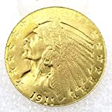DengRen 1911 Antique US Indian Head Old Replica Coin -USA Old Morgan Dollar Hobo Nickel Coin- Commemorative Old Coin -Discover History of US Coins Satisfactory Service