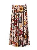 Mujer Lino Algodón Floral Maxifalda Falda Larga con Bolsillos Laterales Cintura Elástica Boheme Retro Vintage Longitud 90cm - Café Claro con Flores Rojas B15