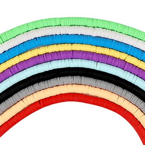 LUTER 3500+ Cuentas de Arcilla Polimérica, Cuentas Planas Redondas Multicolores para Hacer Joyas Collar Tobillera Brazalete (6 mm, 10 Colores)