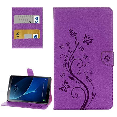 YEYOUCAI Accesorios para tablet Galaxy Tab A 10.1 / P580 Butterflies Love Flowers Embossing Funda de piel con tapa horizontal con soporte y ranuras para tarjetas y cartera