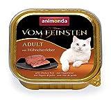 animonda Vom Feinsten Adult Katzenfutter, Nassfutter für ausgewachsene Katzen, mit Hühnchenleber, 32 x 100 g