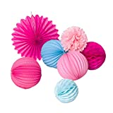 SUNBEAUTY 7er Set Rosa Pink Blau Papier Deko Lampions Fächer Pompom Feier Dekoration