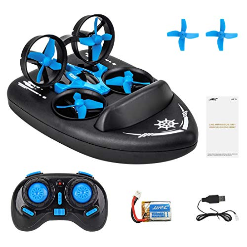 NFtop 3 in 1 2,4G RC Boot Drohne Ferngesteuertes Boot Racing Hovercraft Abnehmbar Amphibious Vehicle Spielzeug Mini Drohne für Kinder RC Multifunktional Boot Geschenk