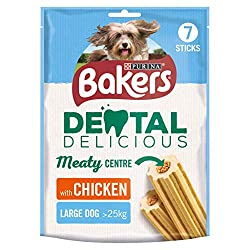 Delicious chewy sticks with a soft meaty centre A complementary pet food for large sized dogs over 25kg Specially shaped chewy outer to help keep teeth clean, gums healthy and reduce build-up of tartar Low in fat No Added Artificial Colours A complem...