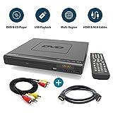MAJORITY Scholars Milton Compact DVD Player, Multi-Regions 1/2/3/4/5/6, USB port, Remote Control, DivX, RCA Audio Cable for TV connect, HDMI port(Black) (Scholars + HDMI Cable)