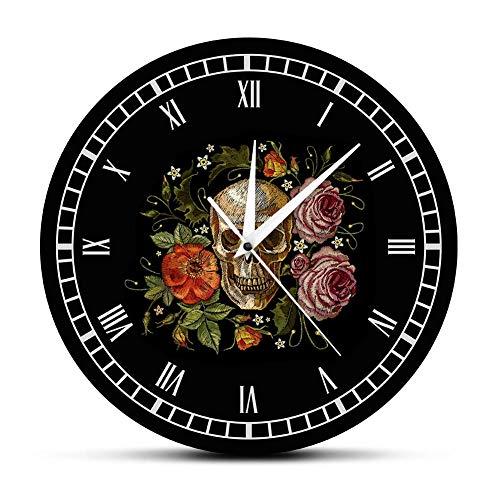 Wangzhongjie Reloj De Pared con Rosas De Calavera Tatuada, Reloj De Pared con Diseño De Huesos De Esqueleto Y Parte del Cuerpo Humano, Reloj Decorativo Vintage, Reloj De Pared-No_Frame