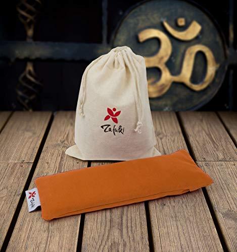 Almohadilla Relajante para Ojos (22 x 8,5cm) - con saquito Tela para guardarlo - Ideal para la práctica de savasan en Yoga, Relleno de Semillas y Flor de Lavanda. (Naranja AZAFRÁN)