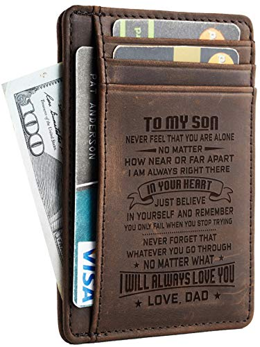 Toughergun Father to Son Gift Best Christmas Birthday Gifts Slim Wallet (Father to Son CH Coffee)