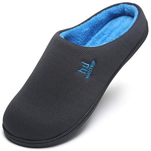 Zapatillas de desgaste para hombre Casa de espuma de memoria Interior Exterior Invierno Cálido Resbalón en los zapatos del dormitorio Inicio Goma antideslizante Suela suave Azul Tamaño 48 49