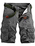 Men's Lightweight Multi Pocket Casual Cargo Shorts with No Belt (Grey Green,...