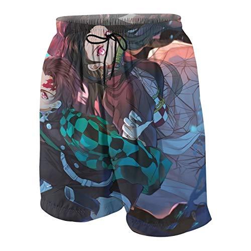LAOLUCKY Demon Slayer Zenitsu Thuder Slash - Pantalones de playa para adolescentes, de secado rápido, ligeros, con bolsillo