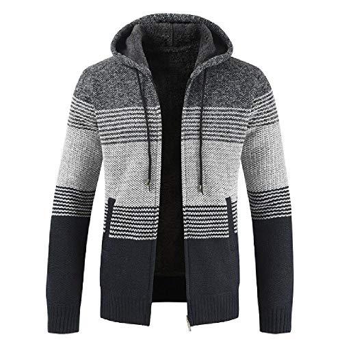 Abrigo de suéter de los hombres Primavera Otoño para hombre con capucha de la raya
