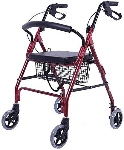 Walker 4 Wielen met mandje, Rollator met rugleuning, Stoel en Tas Oude Winkelwagen Walker Walker kan zitten en vouwen