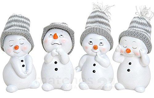 matches21 Süße Schneemann Deko Figuren mit Strickmützen Weihnachtsdeko 4er Set aus Kunststoff je ca. 6x6x11 cm Winterdeko