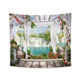 YongFoto 70.9x63 Inches Nature Landscape Tapestry Summer Lush Forest Jungle Waterfall Lake Window Scene Tapestry Wall Hanging for Bedroom Living Room Decor