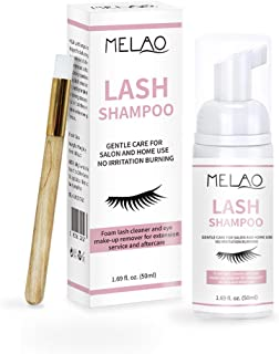 Natural Eyelash Extension Shampoo + Brush, Eyelid Foaming Cleanser, Wash Eyelashes, Remove Makeup Residue & Mascara, Eyelash Extension Care, Paraben & Sulfate Free -50 ml