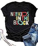 New Kids On The Block T Shirts for Women NKOTB Colorful Vintage Retro Design Tees Funny Letter Print Tshirts Black