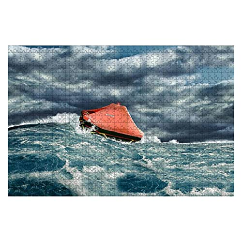 Wooden Puzzle 1000 Pieces Life raft in Stormy Ocean Jigsaw Puzzles for Children or Adults Educational Toys Decompression Game -  NBWEE