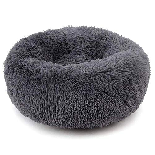 Plush Donut Pet Bed,Dog Cat Round Warm Cuddler Kennel Soft Puppy Sofa, Cat Cushion Bed Sleeping Bag Orthopedic Relief and Improved Sleep,Anti-Slip Bottom,Machine Washable(XL-27.6x7.9 Dark Grey)