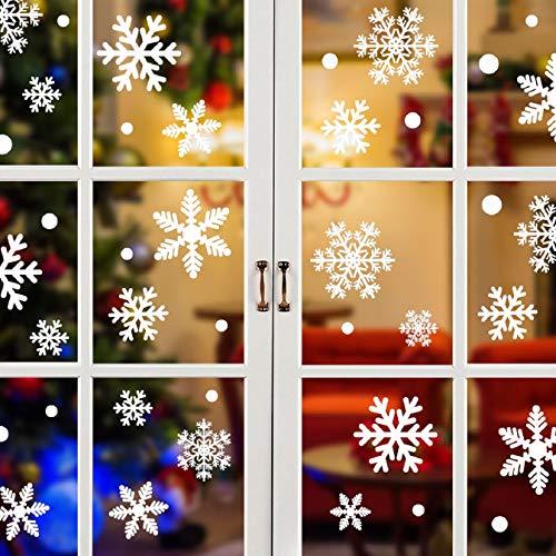 Tuopuda® Navidad Pegatinas de pared Calcomanías de Ventana de Copo de Nieve Pegatinas de PVC para Ventanas Vidrios Navidad Decoración Decoración de la Pared (81 pcs copo de nieve)