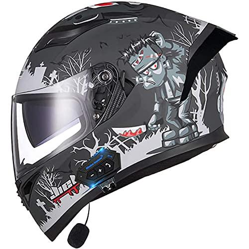 Bluetooth Casco Moto Integrado Hombre Mujer, Casco de Motocicleta con Doble Visera para Motocicleta Scooter, ECE Homologado Casco de Moto para Adultos (Color : K, Size : L(59-60CM))