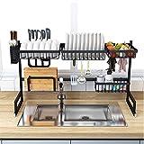 XWCPDM Scaffale da Cucina in Acciaio Inox, Lavello Scolapiatti Nero, Scolapiatti, Portaoggetti da Cucina Rack da Cucina (Size : 85cm*32cm*52cm)