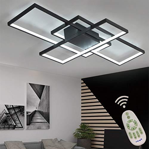 LED Modern Deckenleuchte Wohnzimmerlampe Dimmbar Fernbedienung, Eckig Deckenlampe 3-ringe Design Acryl-schirm Metall Deko Kronleuchter für Küchen Esszimmer Bad Flur Decke Lampe L80*W45cm (Schwarz)