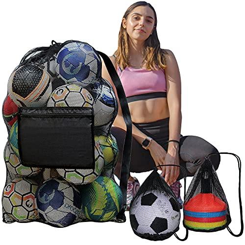 Daily Treasures Soccer Ball Bag,Large Heavy-Duty Football Mesh Bag with...