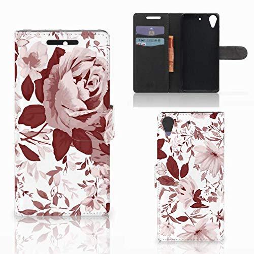 B2Ctelecom Lederhülle für HTC Desire 628 Handytasche Aquarell Blumen - Last Minute Geschenke