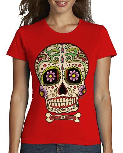 latostadora - Camiseta Calavera Mexicana !!! para Mujer Rojo M