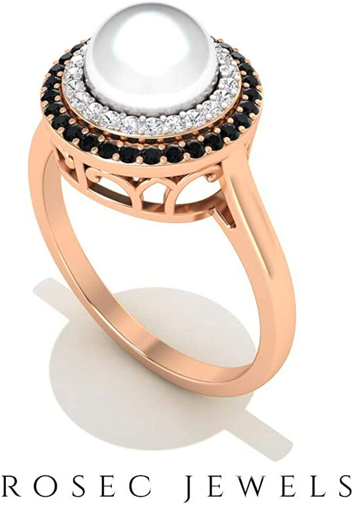 3 Ct Certified Fresh Water Pearl Solitaire Wedding Ring, 0.18 Ct Black Spinel Bridal Ring, 0.11 Ct Diamond Halo Promise Ring, Gemstone Partywear Ring, 14K Gold